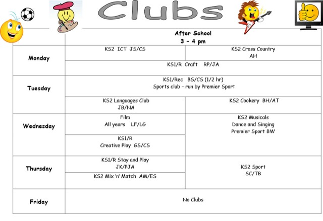 School Clubs List Club List Spr Blank 15