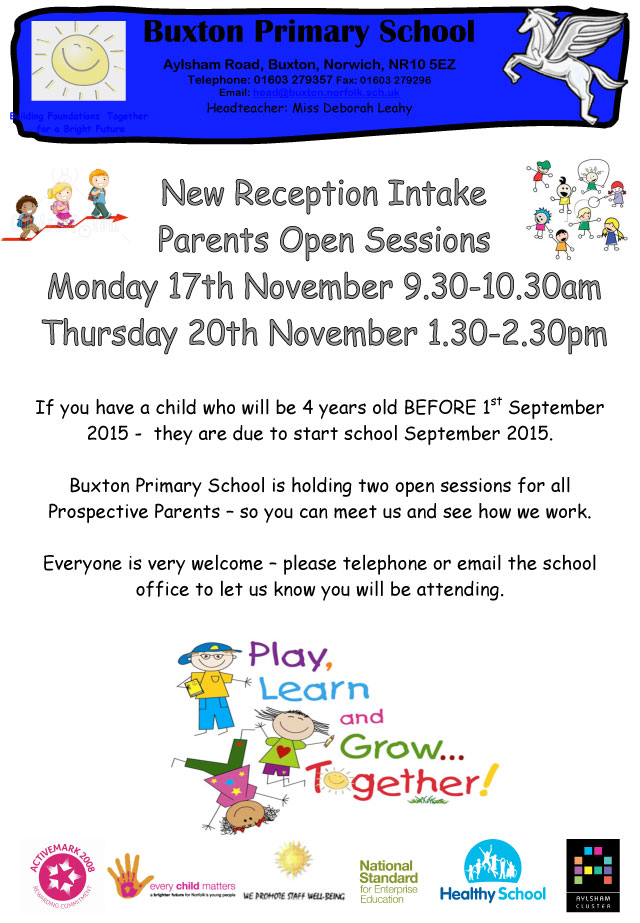 New Reception Intake Parent Open Sessions - November 2014