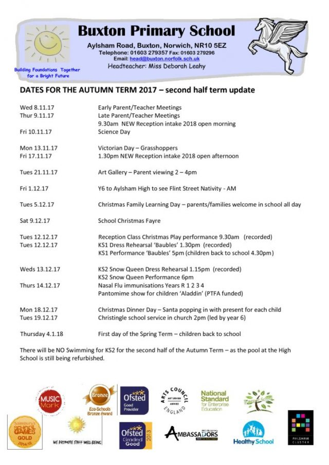 thumbnail of dates for autumn term 17 parents 2nd half of term