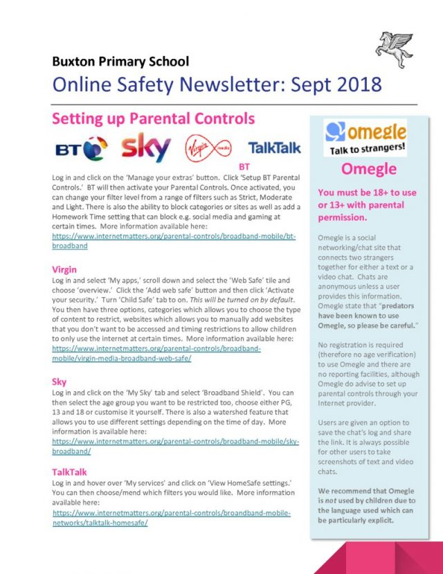 thumbnail of Online Safety Newsletter Sept 2018_Buxton