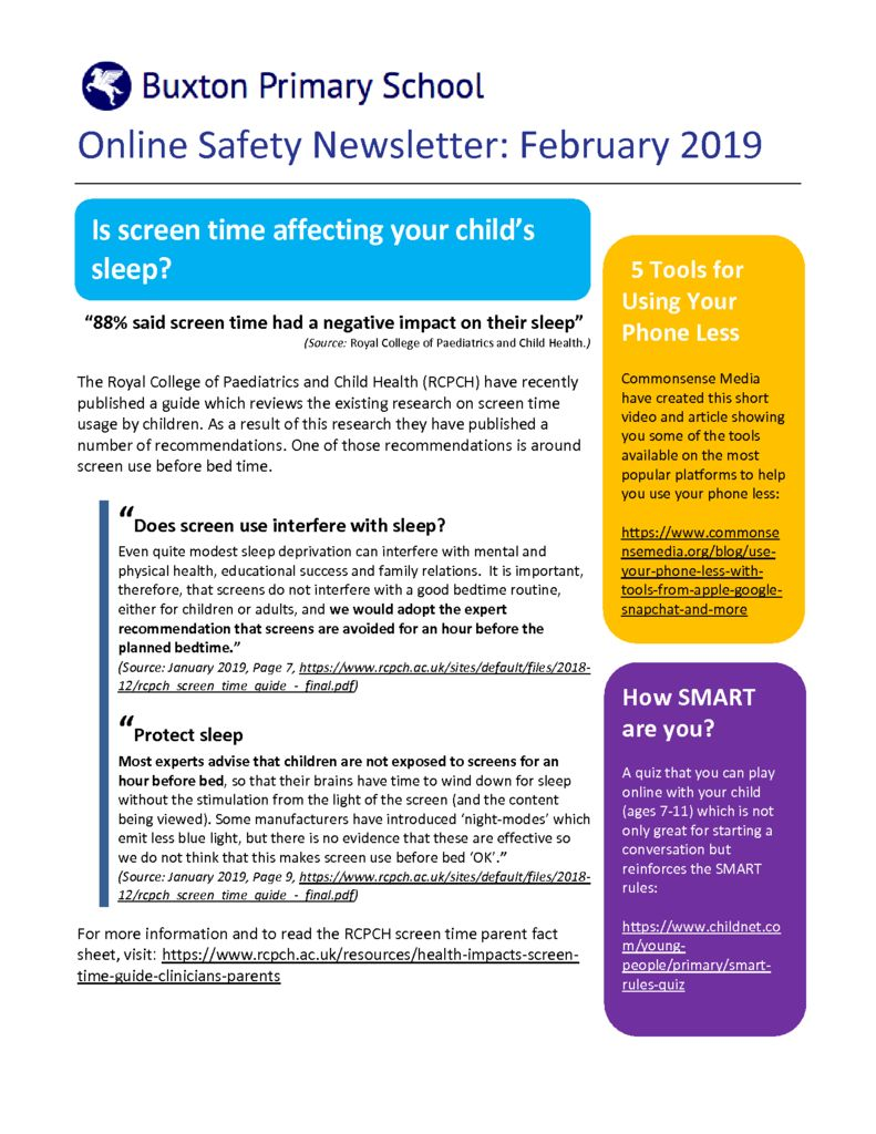 thumbnail of Online Safety Newsletter Feb 2019_Buxton