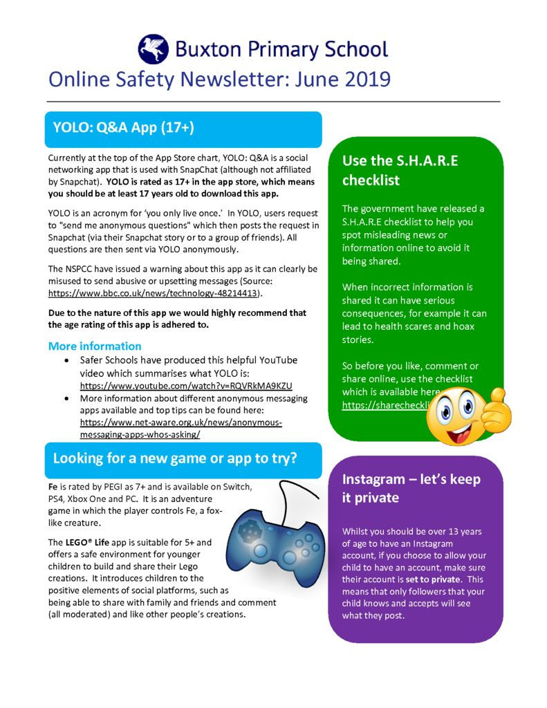 thumbnail of Online Safety Newsletter June 2019