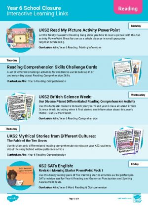 thumbnail of Links to FREE Year 6 activities CLICK on the PDF to download the activity